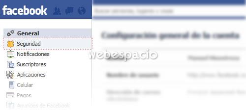 opcion seguridad facebook
