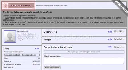 configurar canal youtube