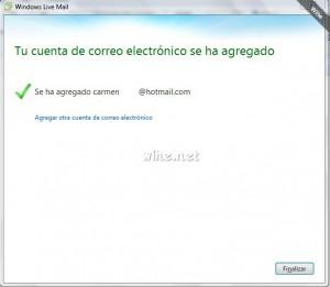 Parte final de agregar una cuenta de correo electrónico en Windows Live Mail