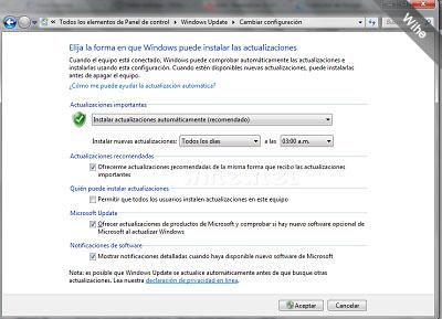 Como debe quedar tu configuración de Windows Update