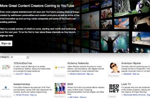 Anuncio de los nuevos canales que pronto ofrecerá youtube