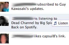 escuchar en ticker de facebook