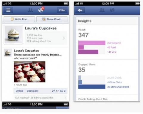 administrar página Facebook desde iPhone