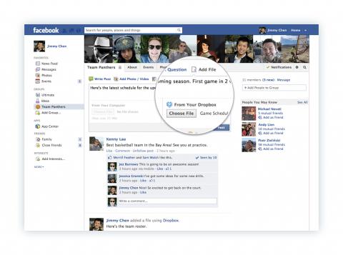 Comparte archivos de Dropbox en los grupos de Facebook