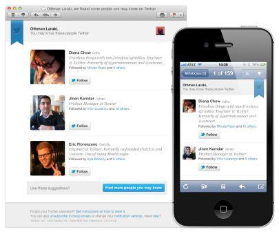 Twitter enviará recomendaciones de usuarios