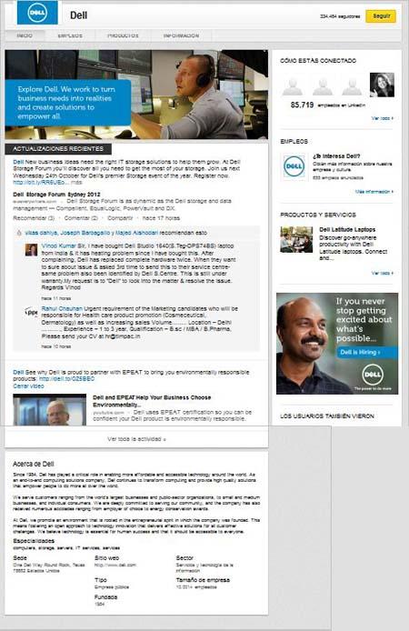 páginas de empresas en Linkedin