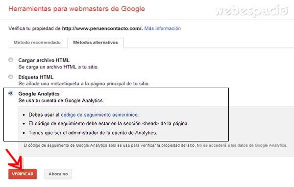 demostrar propiedad sitio web por google analytics