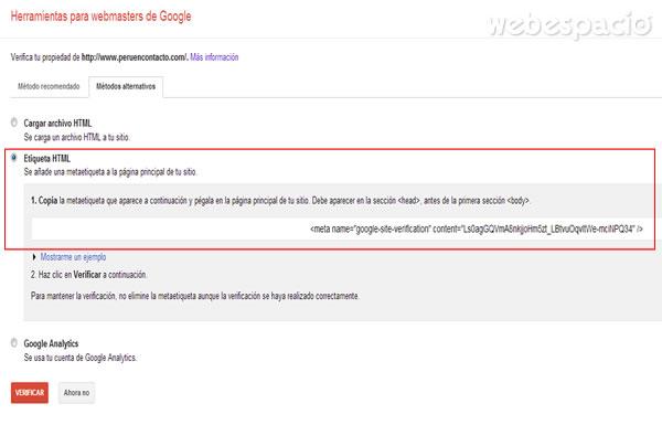 seleccionar etiqueta html para verificar propiedad sitio web