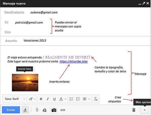redactar mensaje en la nueva interfaz de gmail