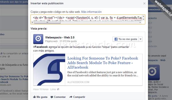 insertar publicacion de facebook en sitios web