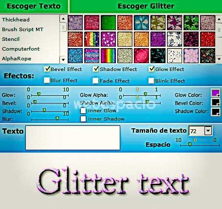 texto glitter app