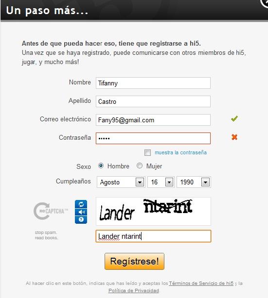 formulario de registro hi5