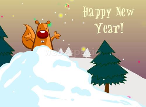 tarjeta ardilla año nuevo