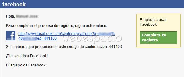 confirmar creacion cuenta facebook