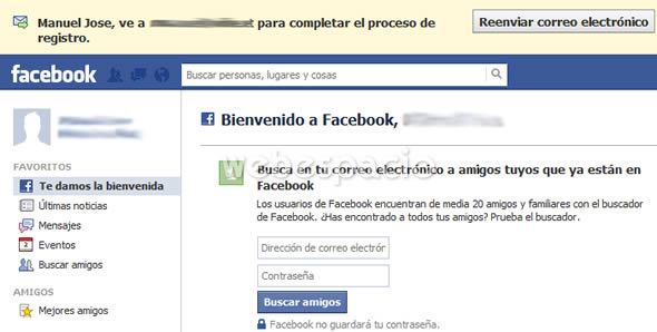 confirmar registro facebook