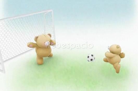 tarjeta jugando futbol con papa