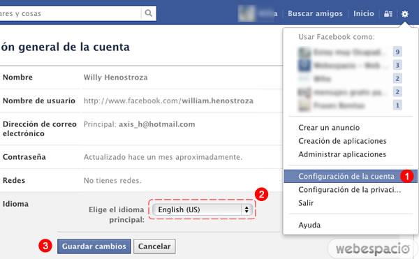 cambiar idioma facebook