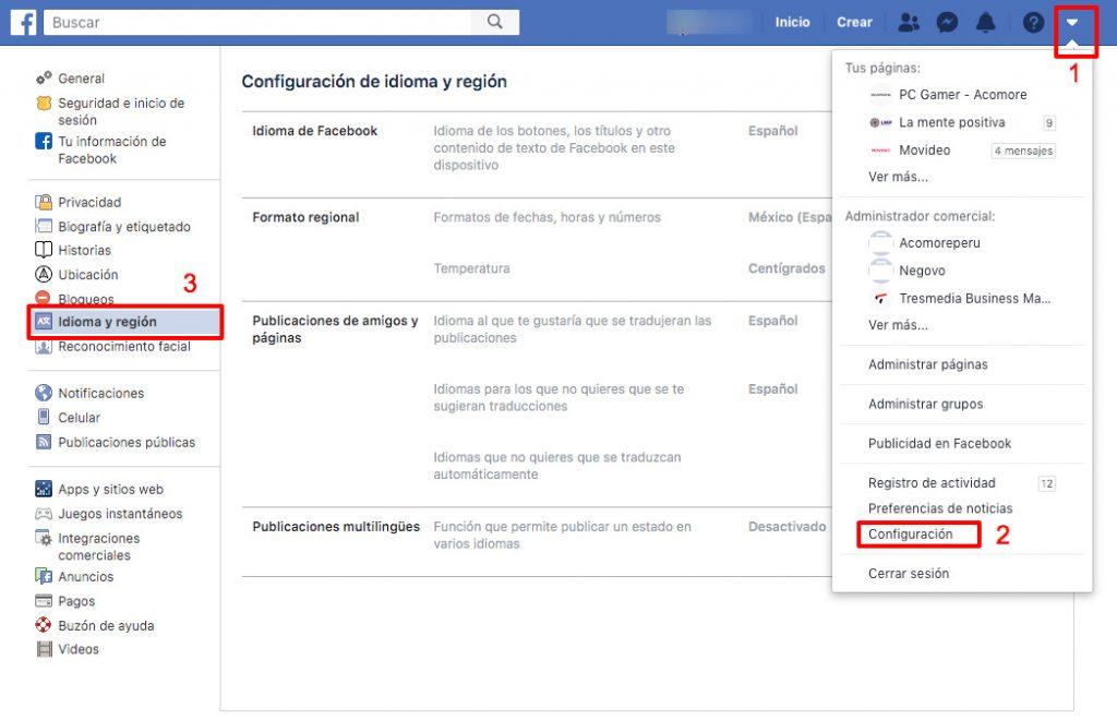 como cambiar idioma facebook