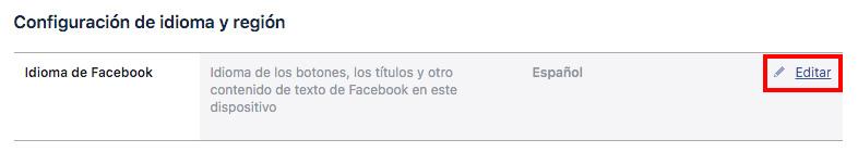 clic en idioma de facebook