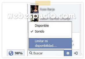 limitar disponibilidad chat facebook