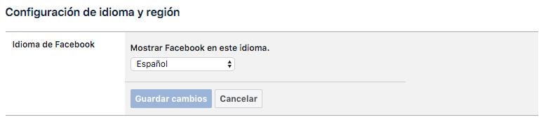 mostrar facebook este idioma