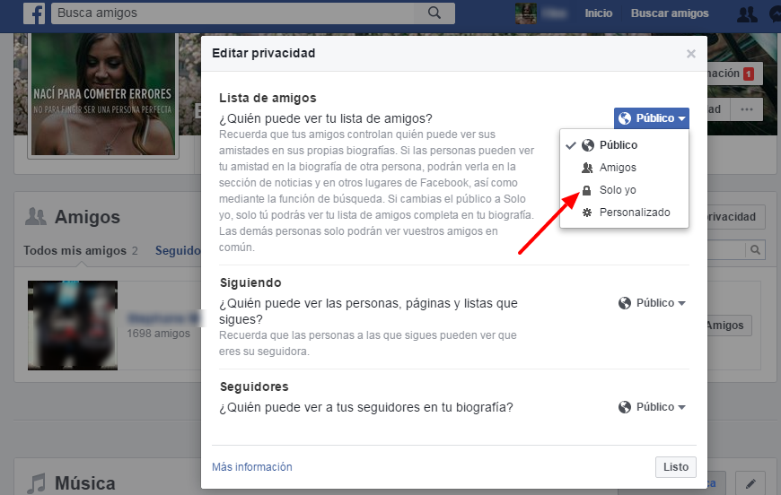ocultar lista amigos en facebook