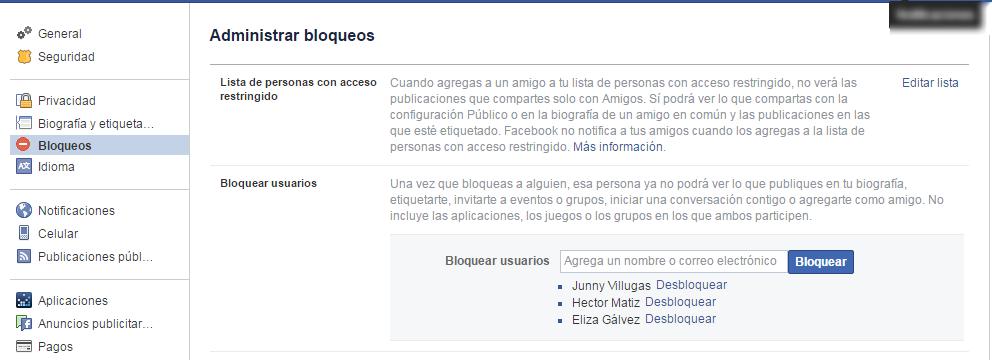 administrar bloqueos en facebook