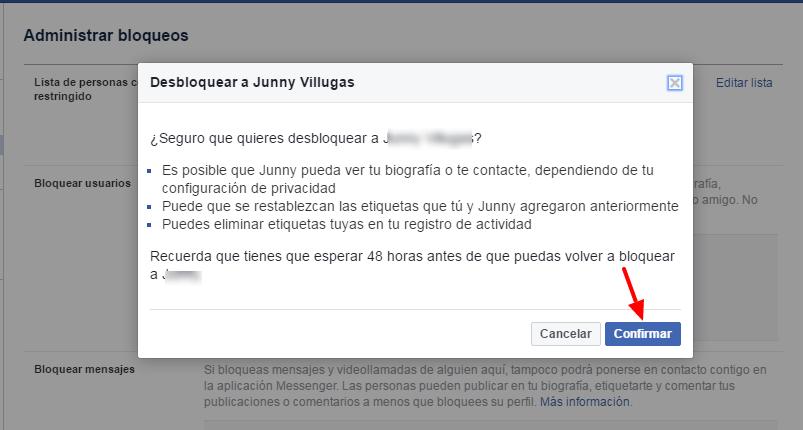 confirmar desbloqueo en facebook