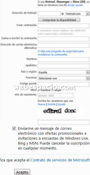 formulario registro hotmail