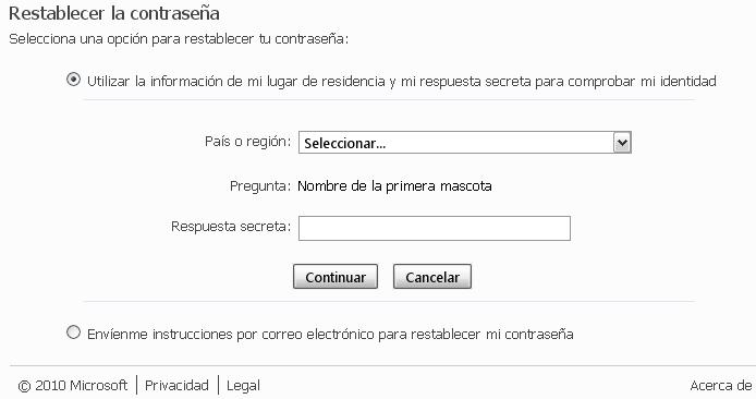cambiar clave de windows live