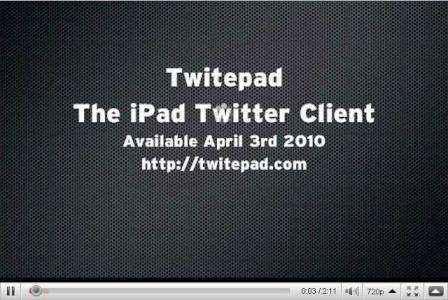 Twitepad, Twitter al iPad
