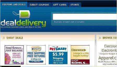 Búsqueda de cupones y vales de descuento en DealDelivery.com