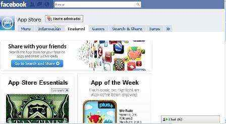 Aplicación de Apple App Store en Facebook