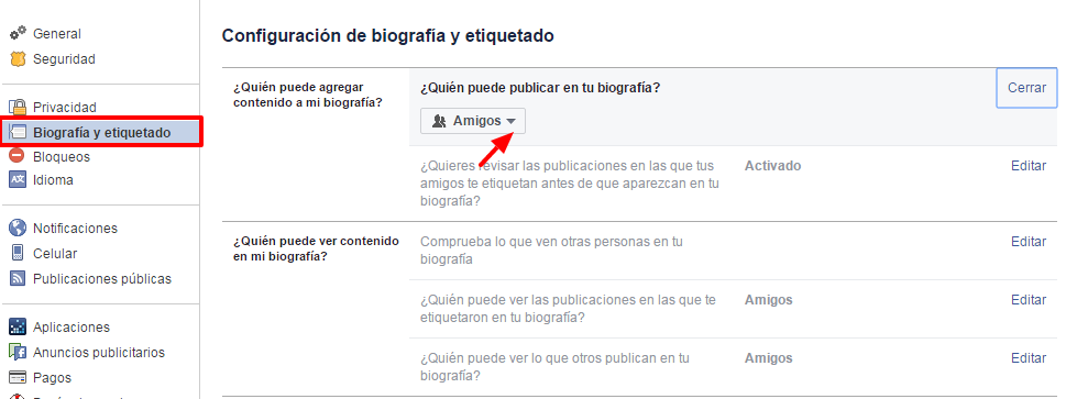 privacidad publicaciones de amigos en facebook