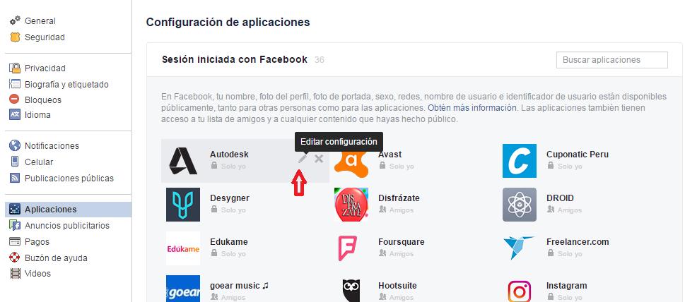 privacidad en aplicaciones de facebook
