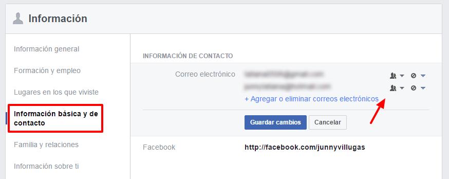 privacidad de información de contacto