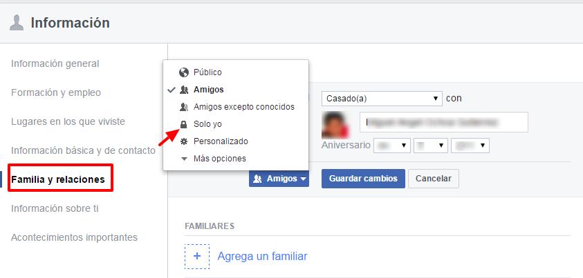 privacidad de relaciones en facebook