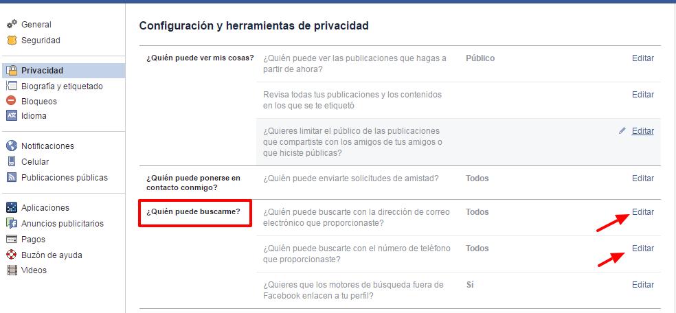quitar el perfil de resultado de facebook
