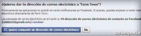 recibir notificaciones por email de aplicaciones facebook