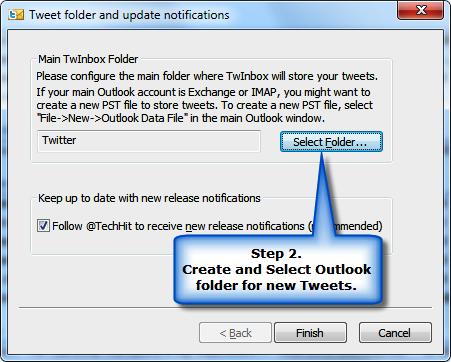 TwInbox seleccionar folder
