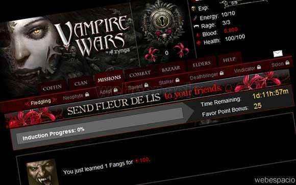 juego vampire wars en facebook