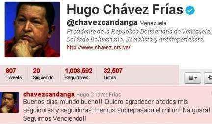 hugo chavez 1millon en twitter