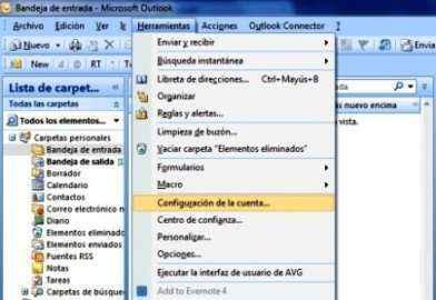 clic configurar cuenta outlook