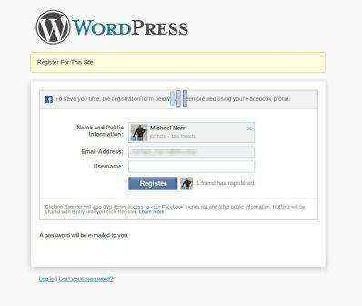 facebook registro wordpress