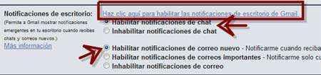 activar notificaciones chat mensajes gmail