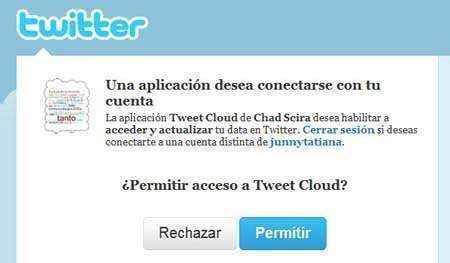 permitir acceso tweetcloud