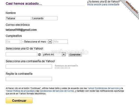 registro alternativo en yahoo correo