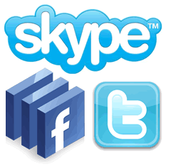 skype facebook twitter
