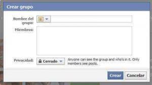 Cuadro de dialogo para crear grupo de Facebook