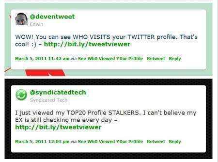enlaces tweets spam